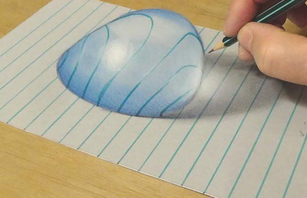 トリックアートの書き方(水滴)