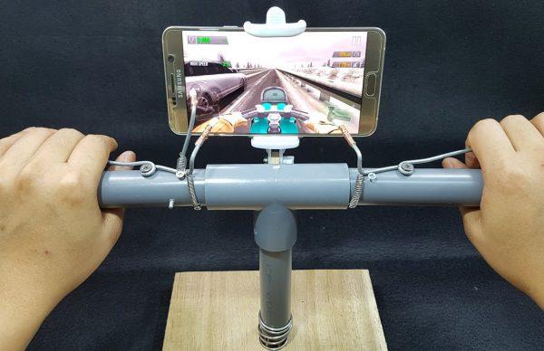 塩ビパイプで作るバイクゲーム用のコントローラー