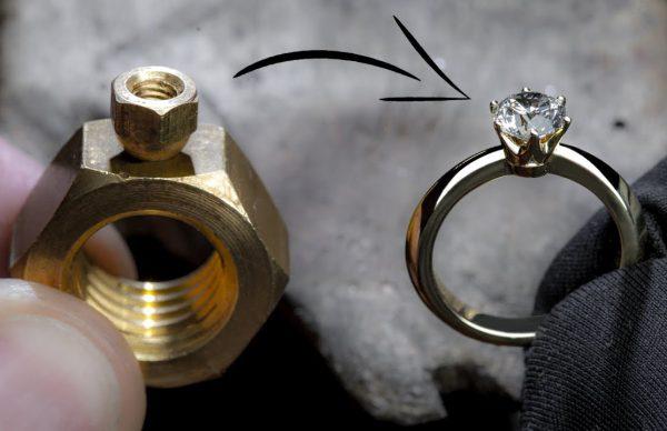 6 角 ナ ッ ト 2 つ か ら 1 キ ャ ラ ッ ト ダ イ ヤ モ ン ド の 指 輪 を 作 っ て み た.
