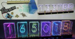 LEDで作られたニキシー管風な時計